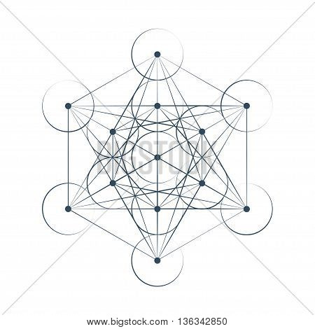 Metatrons Cube sacred geometry vector illustration on white background
