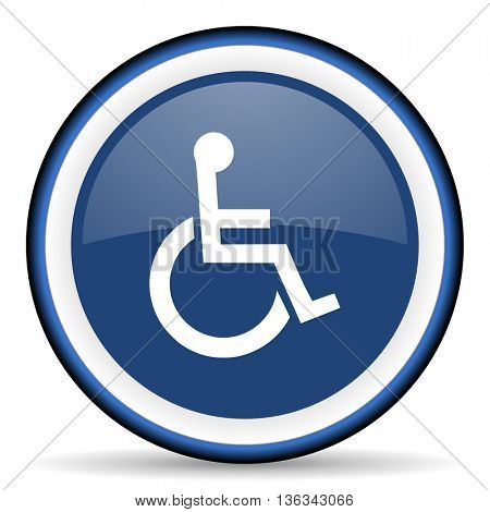 wheelchair round glossy icon, modern design web element