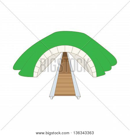 Railway tunnel icon in cartoon style on a white background