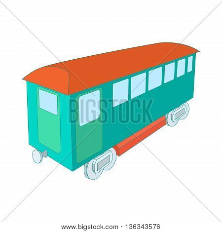 Retro wagon of the passenger train icon in cartoon style on a white background