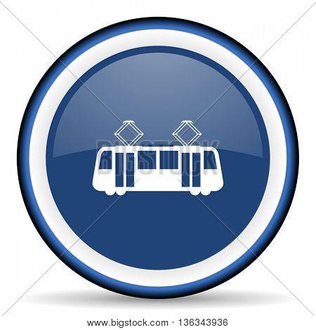 tram round glossy icon, modern design web element