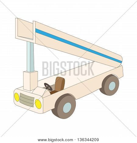 Gangway of the plane icon in cartoon style on a white background