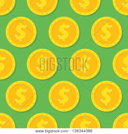 Seamless pattern from Gold dollar coin. Background from money symbol icon
