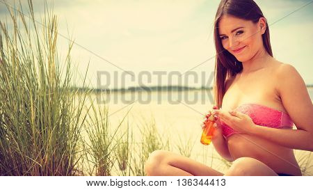 Woman With Sun Oil.