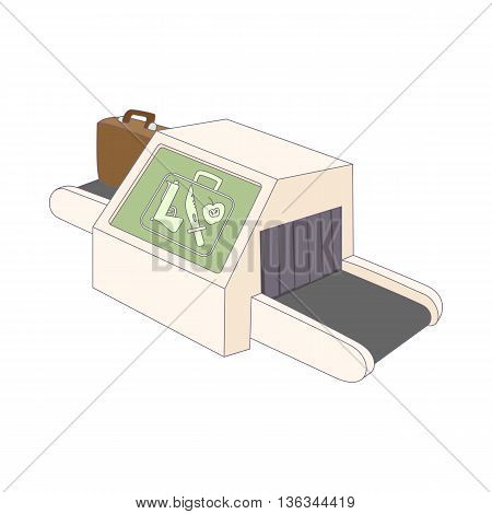 Luggage check in at the airport icon in cartoon style on a white background