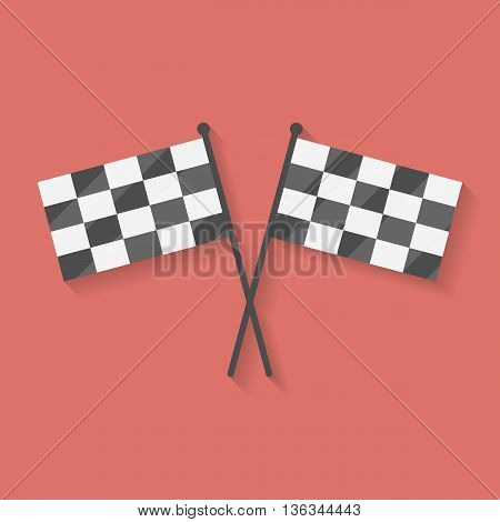 Flat icon of two crossed racing competition or finish flags