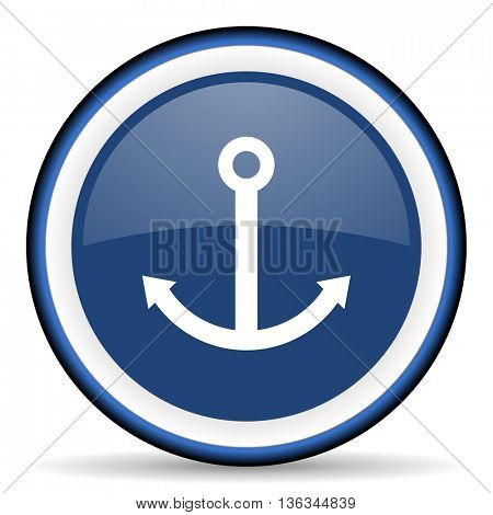 anchor round glossy icon, modern design web element