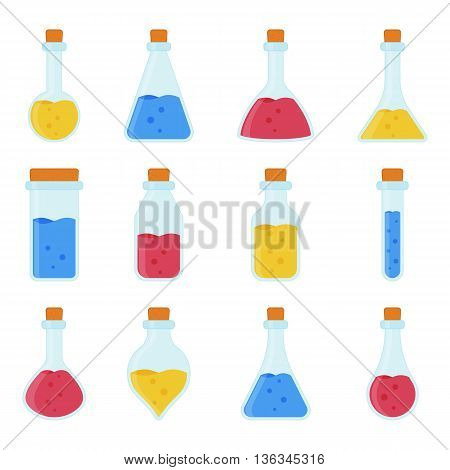 Chemical biological science laboratory equipment - test tubes and flasks icons