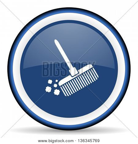 broom round glossy icon, modern design web element