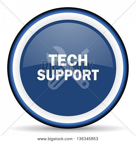 technical support round glossy icon, modern design web element