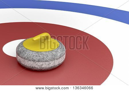 Curling stone with yellow handle in the center of target area, 3D illustration