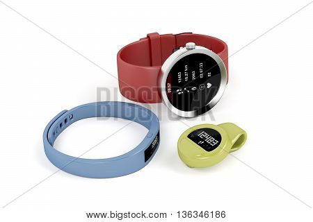 Smartwatch and activity trackers on white background, 3D illustration