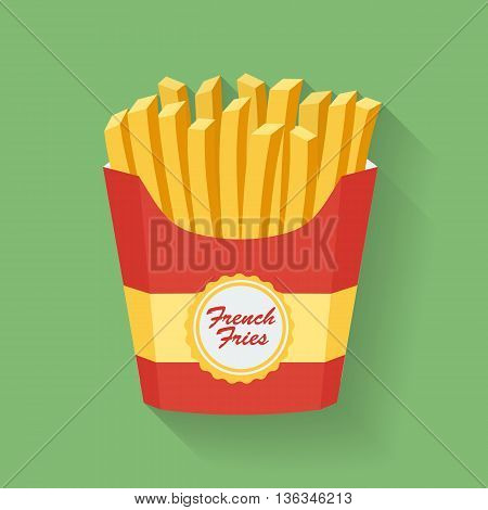 Icon of French fries. Fast food Vector illustration