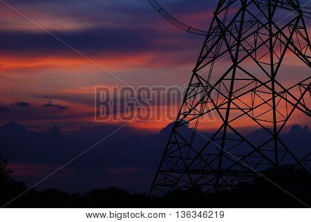 the electricity post cable construction for industry network power supply technology transmission silhouette