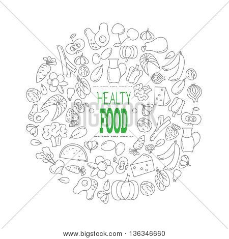 Monochrome composition. Healthy food. Manually sdellanya ilyuyustratsiya. Outlined icons. Healthy eating. Instructions for each