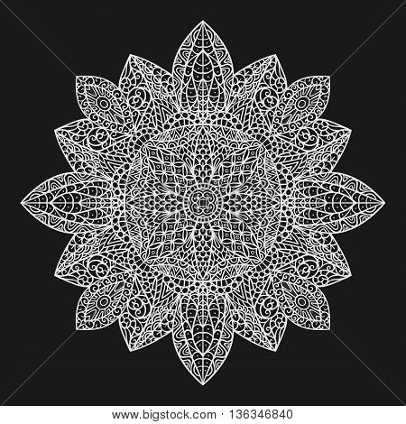 Mandala. Decorative ornament element pattern. Hand drawn ethnic tribal background template. Adult coloring book