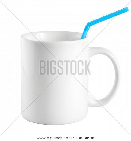 White cup with a drinking straw (Path)