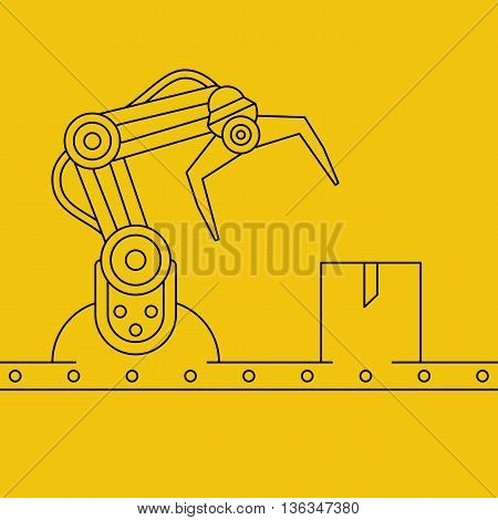 Industrial manipulator or mechanical robot arm. Line art style concept