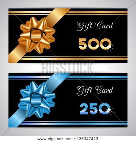 Vector illustration with gift bow. Gift card voucher certificate or discount card template