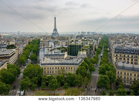 Iena Avenue, Kleber Avenue and the Eiffel Tower in Paris, France