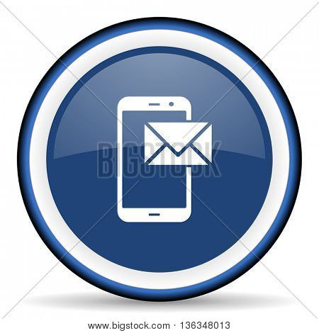 mail round glossy icon, modern design web element