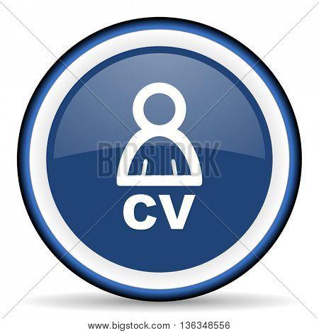 cv round glossy icon, modern design web element