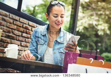 Woman Shopping Outdoor Mobile Phone Concept