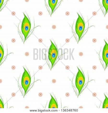 Vector illustration of Happy Janmashtami seamless pattern. Janmashtami traditional religious festival krishna hindu. Worship mythology religion janmashtami mythological bhagavan handi deity graphic.
