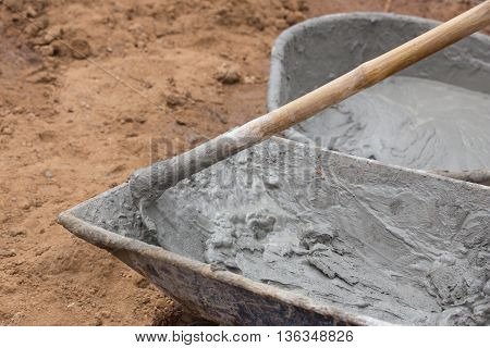 Cement Blending By Hoe In A Tray