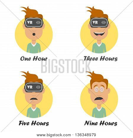Cartoon man in virtual reality headset. Gaming cyber technologies concept. VR technology glasses flat icon.