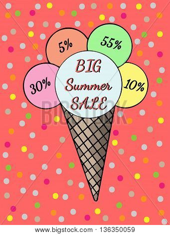 Inscription Big summer sale Ice cream with bright colorful circle. Cold dessert illustration on the red background.