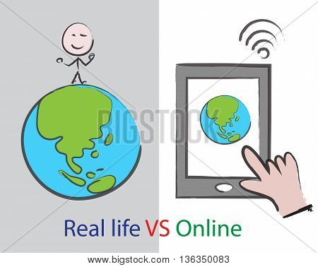 world of real life VS online concept social media and internet addiction on smart phone cartoon vector sign for lifestyle