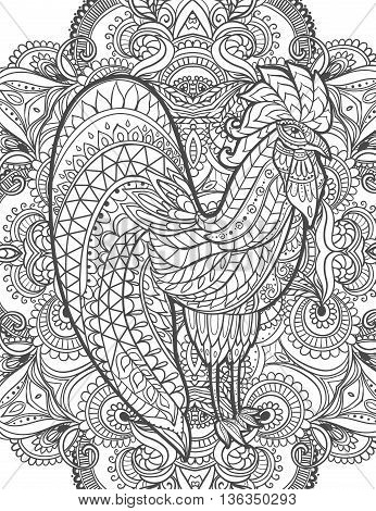 Zodiac Signs of Rooster. Rooster Chinese New year 2017 beautiful illustration ornament rooster. Coloring book for adults. Cock vector