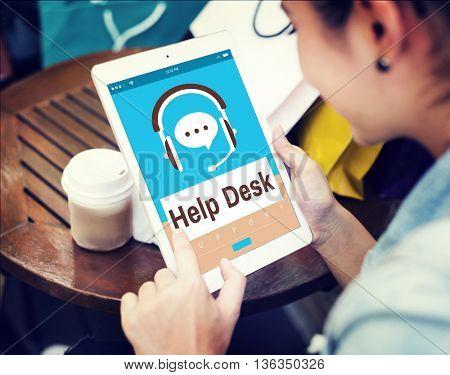 Help Desk Operator Customer Care Service Concept