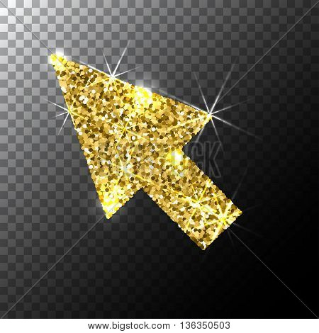 arrow cursor, Gold glitter icon, web icon, Gold sparkles icon, vector logo concept for web graphics.