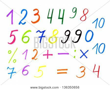 White background with colorful numerals and symbols