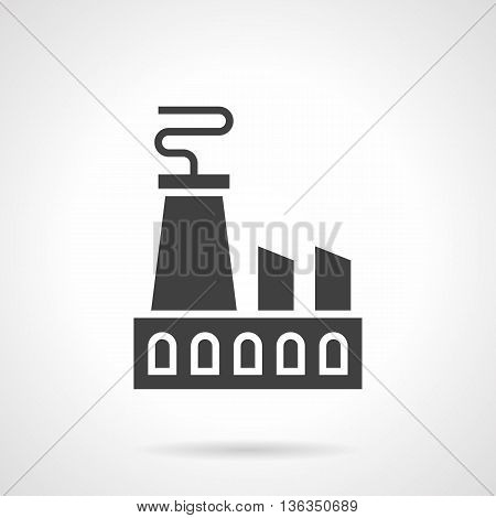 Abstract monochrome silhouette sign of nuclear power plant. Industry and energy. Industrial facilities and objects. Symbolic black glyph style vector icon.