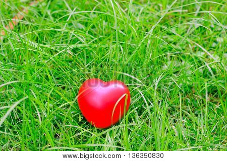 red heart shape on grass abstract background metaphor to lonely love or neglect the act of being uncased for. for Valentine's day season concept.