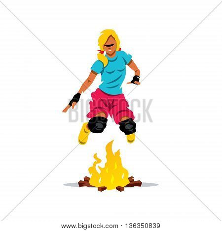 Girl jumping over the fire. Isolated on a White Background