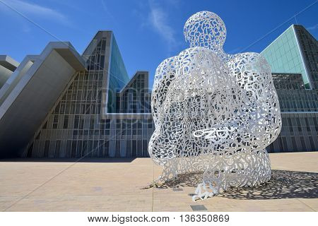 ZARAGOZA SPAIN-APRIL 18 : The modern sculpture El Alma del Ebro by Artist Jaume Plensa on 18 April 2014 in Zaragoza (Spain). Was created for the International EXPO in Zaragoza.