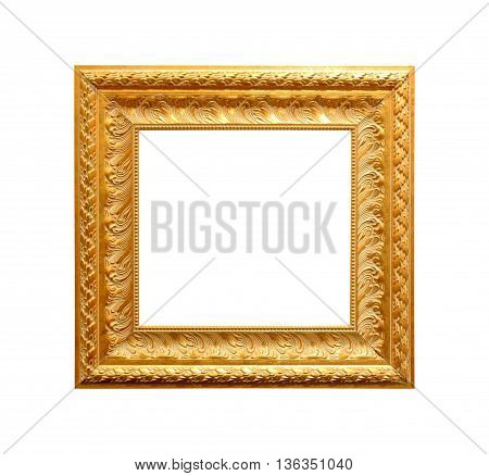 Golden antique frame isolated on white background