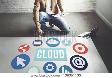 Cloud Network Computing Technology Concept