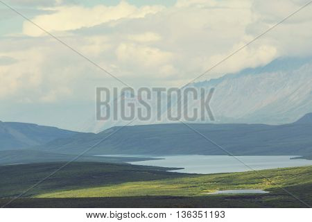 Landscapes on Denali highway, Alaska. Instagram filter.