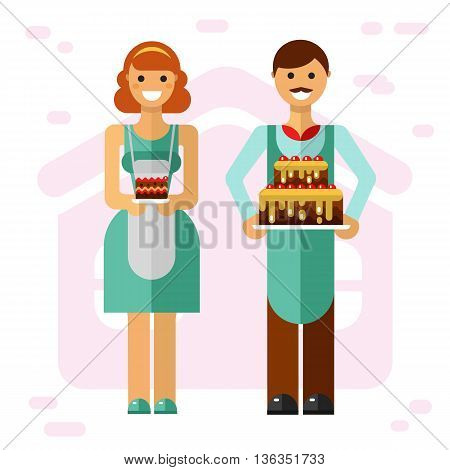 Vector flat style illustration of smiling boy with big party cake and girl with slice of cake. Confectioner and baker cooking tasty cakes concept. Taste it!