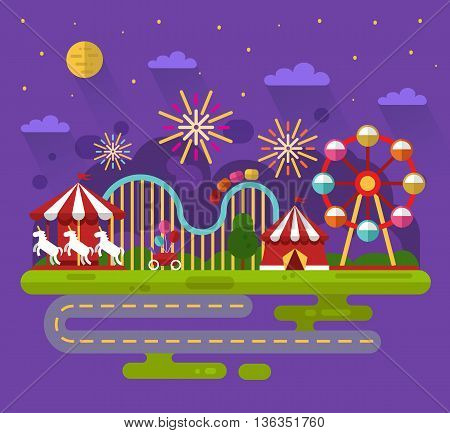 Flat design vector night landscape illustration of carnival or amusement park with sky full of firework lights, carousel, ferris wheel, roller coasters, road. Festival, carnival, circus concept.