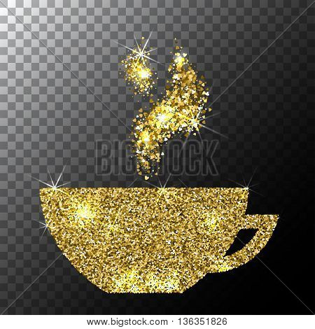 Vector Gold Glitter Sparkle Cup of Coffee with Floral Aroma Pattern Isolated on White Background.