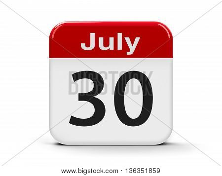 Calendar web button - The Thirtieth of July - International Day of Friendship three-dimensional rendering 3D illustration