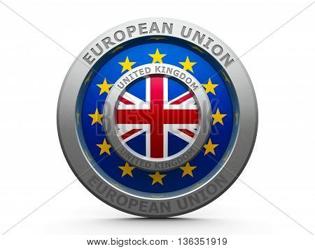 Emblem - Flags of European Union and United Kingdom - represents Brexit isolated on white three-dimensional rendering 3D illustration
