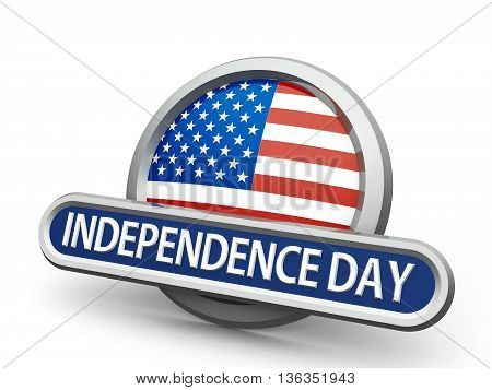 Emblem icon or button with american flag represents Independence Day isolated on white background three-dimensional rendering 3D illustration
