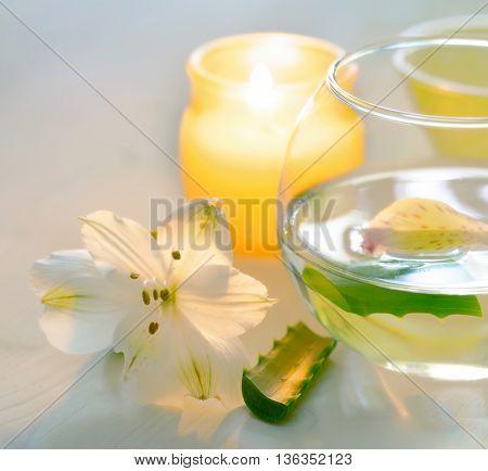 Aloe Vera Water With Slices. Spa Concept.